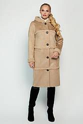 Модная женская дубленка зимняя с капюшоном размеры 46-56