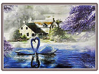 Набор для вышивки картины Влюбленные Лебеди 83х63см