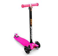 Самокат розовый, светятся колеса PU, трубка руля алюминиевая, в коробке