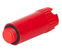 """Заглушка пластиковая с резьбой 1/2"""" длинная красная"""
