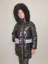 """Зимова куртка """"Ірма"""" з натуральним хутром, чорний/сірий"""