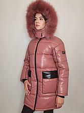 """Зимова куртка """"Ірма"""" з натуральним хутром, пудра"""
