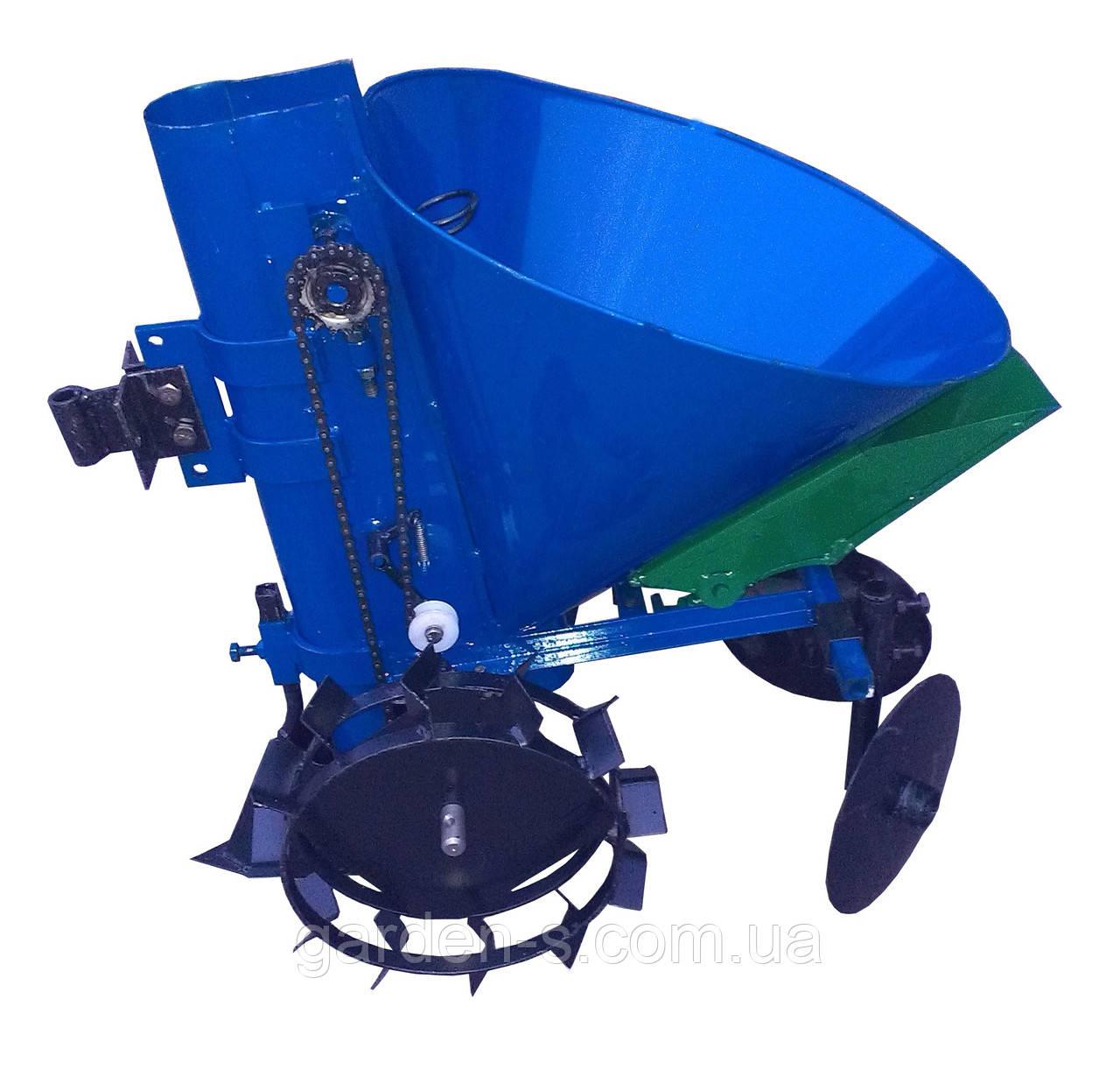 Картофелесажатель мотоблочный Кентавр КСМ-1ЦУ (синий) с бункером для удобрений
