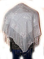 Платок женский белый с узором 1м