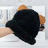 Шапка вязаная с ушками/ черная шапка / шапка с отворотом /шапка мужская / шапка женская/ головной убор