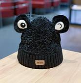 Шапка вязаная с глазами/ черная шапка / шапка с отворотом /шапка мужская / шапка женская/ головной убор