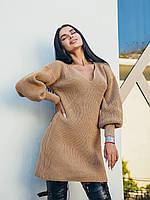 Сукня міні Kiwi жіноче базове в'язане з об'ємними рукавами різні кольори Smof6570