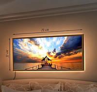 Картина с LED подсветкой Помост и беседка