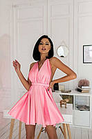 Сукня міні жіноче з атласу ефектне з відкритою спиною і пишною спідницею різні кольори Sms6571