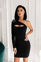 Сукня міні красиве жіноче на одне плече з бахромою з страз і з фігурним вирізом Sms6572