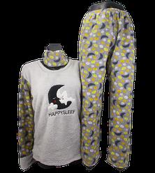 Жіноча піжама фліс і махра Fancy 9175 M сіра