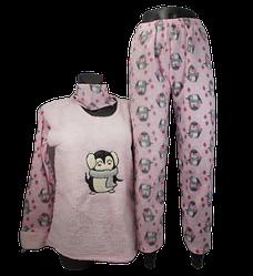 Жіноча піжама фліс і махра Fancy 9175 M рожева