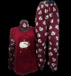 Жіноча піжама фліс і махра Fancy 9175 XL бордова