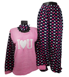 Жіноча піжама фліс і махра Fancy 5001 2XL рожева c синім