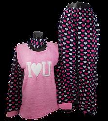 Жіноча піжама фліс і махра Fancy 5001 4XL рожева c синім