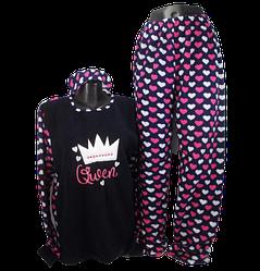 Жіноча піжама фліс і махра Fancy 5001 4XL синя з рожевим