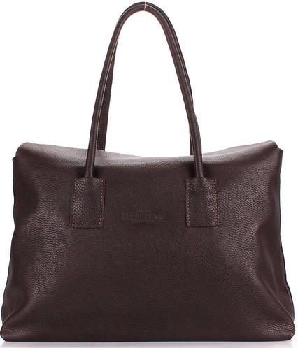 Кожаная стильная женская сумка POOLPARTY SENSE sense-brown коричневая