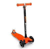 Самокат оранжевый, светятся колеса PU, трубка руля алюминиевая, в коробке