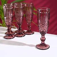 Набор бокалов для шампанского «Винтаж», 160 мл, 7×20 см, 6шт, цвет розовый.