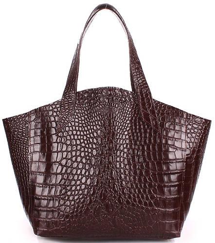 Оригинальная женская сумка из натуральной кожи POOLPARTY FIORE  fiore-caiman-brown