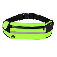 Спортивная сумка на пояс RunningBag для бега с карманом на бутылку Green MS