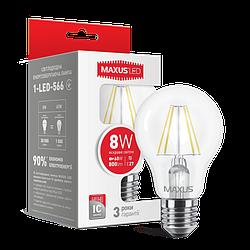 LED лампа MAXUS (филамент), А60, 8W, яркий свет, (800Lm) 220V E27. 1-LED-566