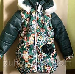 Детская зимняя куртка для девочки на меху размеры 116-134