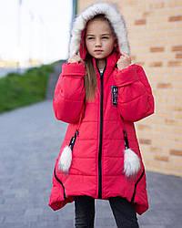 Куртка зимняя для девочки на меху размеры 128-146