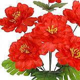 Искусственные цветы букет пионов красных, 44см, фото 2