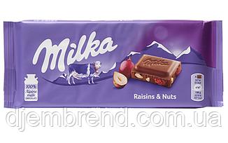 Шоколад Родзинки і горіхи Milka Raisins & Nuts, 100гр.