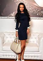 Темно-синее платье с белым манжетом