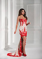 Роскошное вечерние платье с длинным хвостом-шлейфом