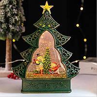 "Новогодний декор лампа - ""Ёлка"" со снегом и снеговиками 29*25*6,5 см."