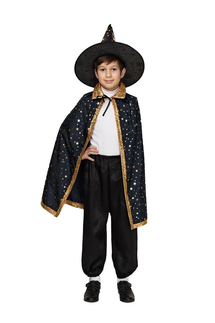 Детский карнавальный маскарадный костюм Волшебника Звездочет черный рост:110-134 см
