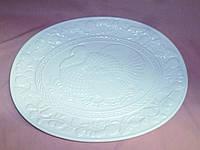 """Блюдо керамическое большое белое """"Дичь"""" 40х31 см"""