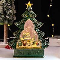 "Новогодний декор лампа - ""Ёлка"" со снегом и сантой в санях 29*25*6,5 см."