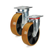 Колесо поліуретанове поворотні з майданчиком 100 мм