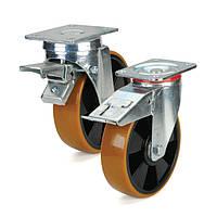 Колесо поліуретанове поворотні з гальмом з майданчиком 100 мм