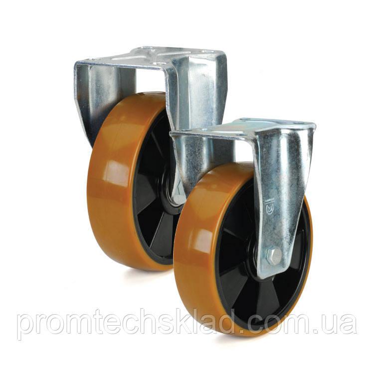 Колесо полиуретановое с неповоротным кронштейном 125 мм