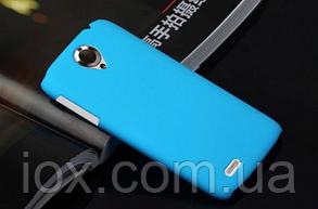 Голубой пластиково-прорезиненный чехол для Lenovo S820