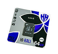 Micro sd 64gb HI-RALI 64 гб с адаптером Class 10, карта памяти для фотоаппарата, смартфона | мікро сд (NS)
