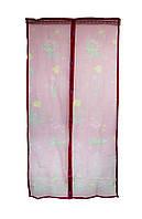 Антимоскитная магнитная шторка Розовая с рисунком 210х100см, антимоскитная сетка на магнитах (NS)