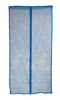 Антимоскитная сетка на дверь на магнитах Синяя с рисунком 210х100см, сетка от мух на двери (NS)