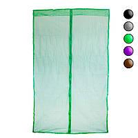 Антимоскитная сетка на магнитах Зеленая однотонная 120х208см, москитная сетка-штора (антимоскітна сітка) (NS)