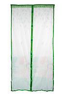 Дверная антимоскитная сетка на магнитах Зеленая с рисунком 210х100см, сетка на дверь от комаров (NS)