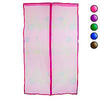 Москітна сітка на двері Рожева 120х210 см, антимоскітна сітка на магнітах - сітка від комарів та мух (NS)