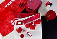 Бамбуковое полотенце со стразами 30x50 см цвет красный