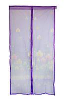Сетка на двери от мух на магнитах Фиолетовая с рисунком 210х100см, сетка москитная на дверь (NS)