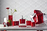 Набор аксессуаров для ванной из 7 предметов Рома красного цвета