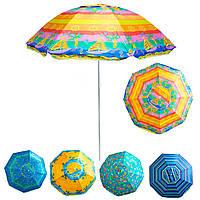 """Парасолька антивітер """"Stenson - різнокольоровий Кораблик"""" 1,8 м, парасоля пляжна посилена з срібним покриттям"""